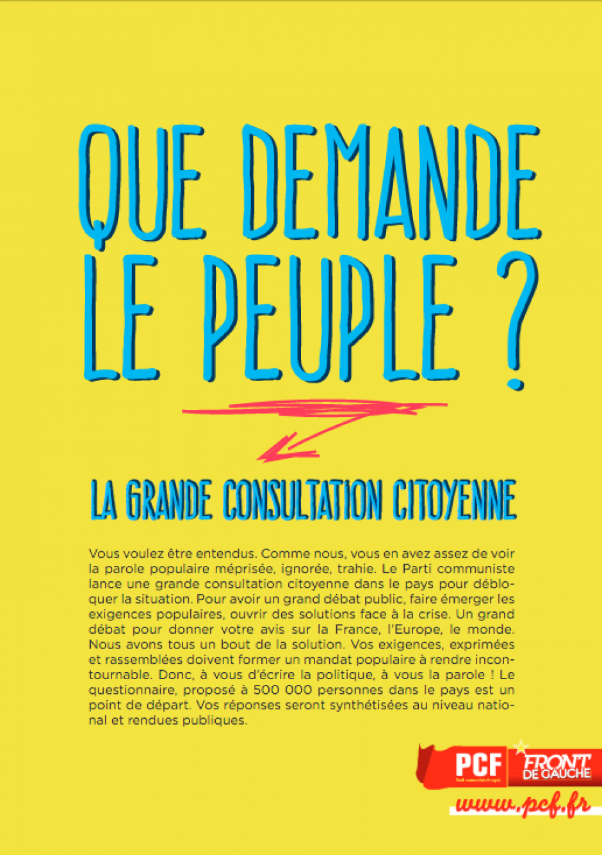 Que demande le Peuple ? La grande consultation citoyenne