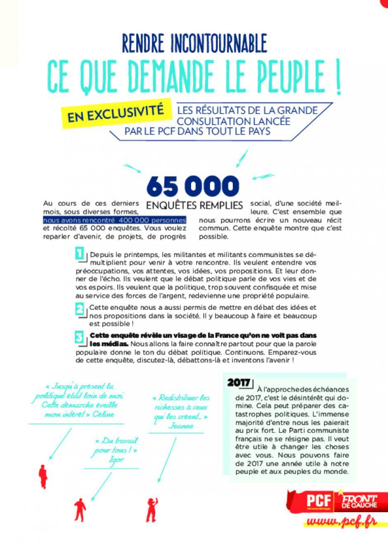 Grande consultation citoyenne - Rendre incontournable ce que demande le peuple !